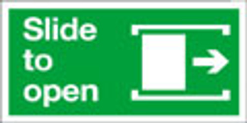 Slide to open exit sign