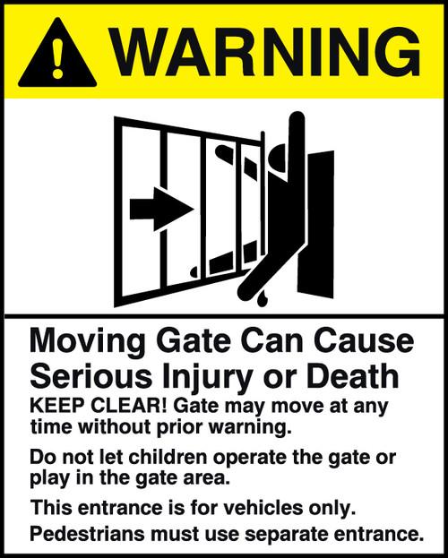 Warning Moving Gate Sign