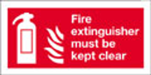 Fire extinguisher sign, must be kept clear
