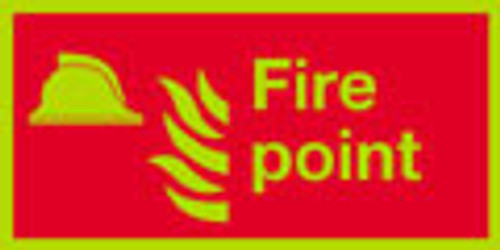 Photoluminescent fire point safety sign