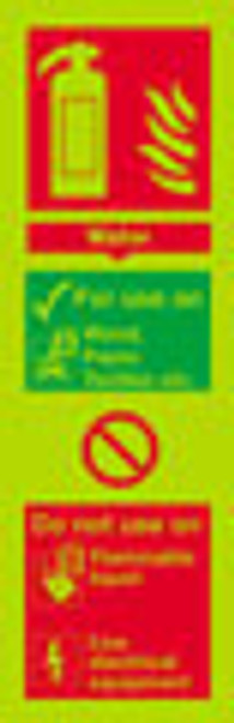 Photoluminescent Fire Extinguisher sign - Water