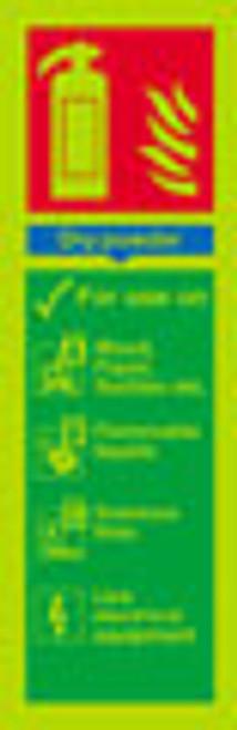 Photoluminescent Fire Extinguisher sign - Dry powder