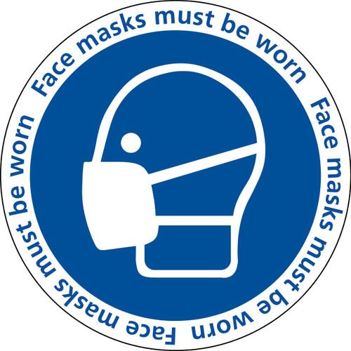 Face masks must be worn sticker