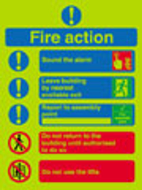 Nite-glo Fire action notice sound the alarm
