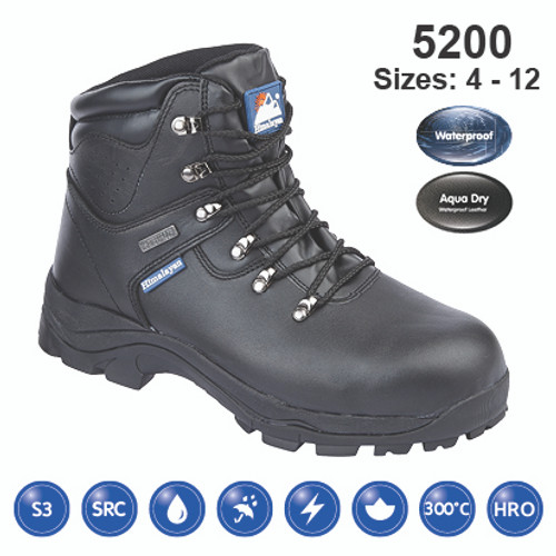 HIMALAYAN Black Leather Fully Waterproof Safety Boot