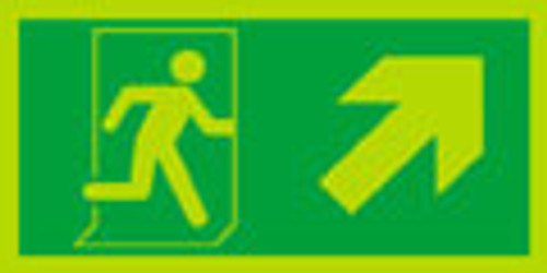 Night glo fire exit sign, Running man Arrow up right