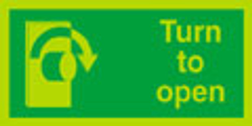 Nite glo right turn to open door sign