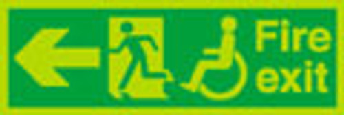 Nite glo  Fire exit left sign