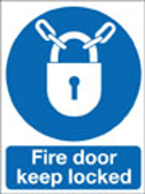 Fire door keep locked safety sign
