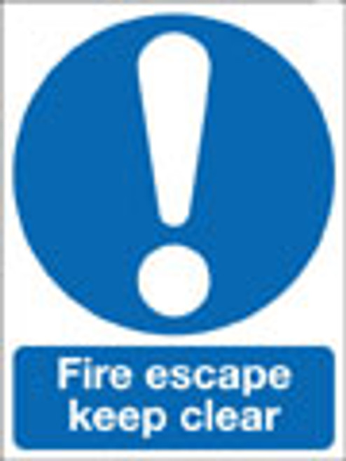Fire escape keep clear sign
