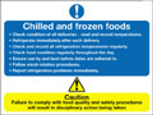 Chilled and frozen foods sign