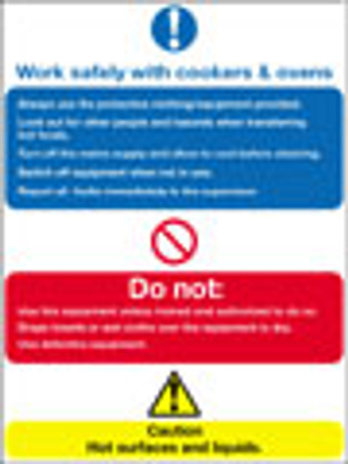 Work safely with cookers & ovens sign
