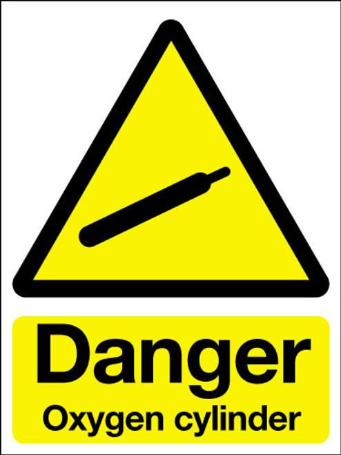 Danger oxygen cylinder adhesive sign
