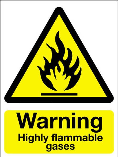 Warning highly flammable gasses sign
