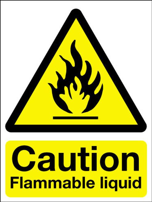 Caution flammable liquid sign
