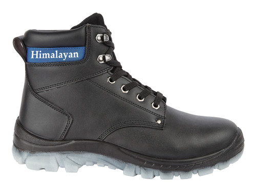 Black Leather Steel Toe Cap and Midsole Safety Boot