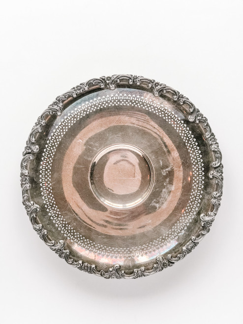 11.5 Inch Round Silver Tray