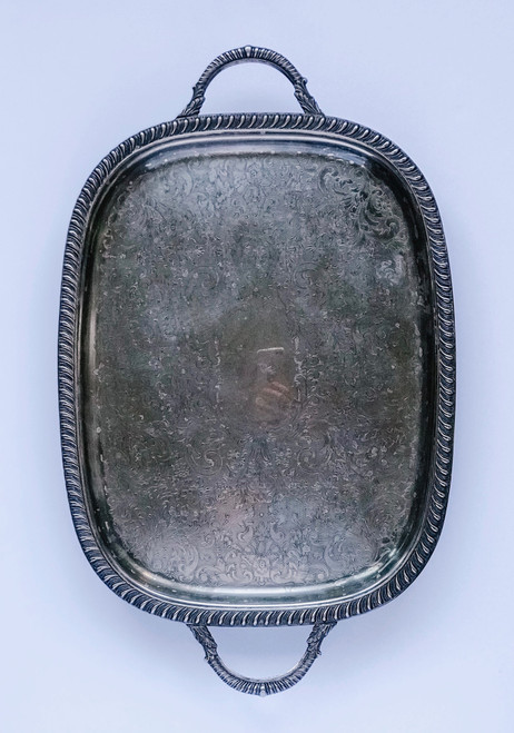 23 Inch Rectangle Silver Footed Tray
