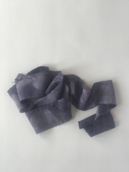 "2"" Raw Edge Silk Ribbon - tie die grape"