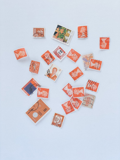 Pre Loved Postage Stamps Orange