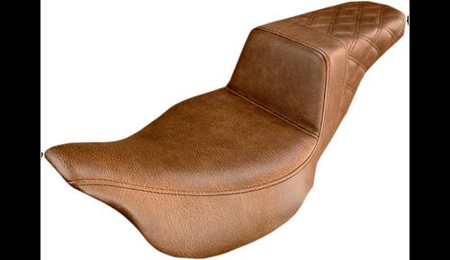 Saddlemen Step-Up Seat BROWN REAR LATTICE STITCHED (for FLHR/FLHT/FLHX/FLTR/FLTRU/FLTRK/FLTRX(EXCEPT TRIKES)