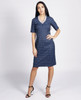 Lagom Holmes Dress Blue front view, worn by model on grey background