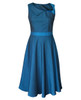 Lydia Dress Teal front view on white background