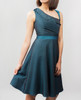 Lydia Dress Teal side view on model on grey background