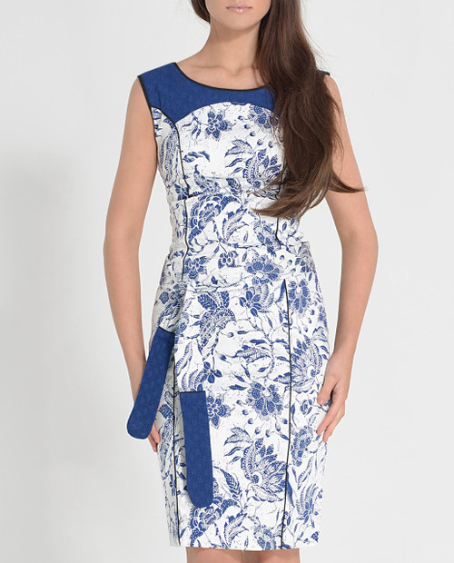 Lagom Cleo Dress White-Blue front view, worn by model on grey background