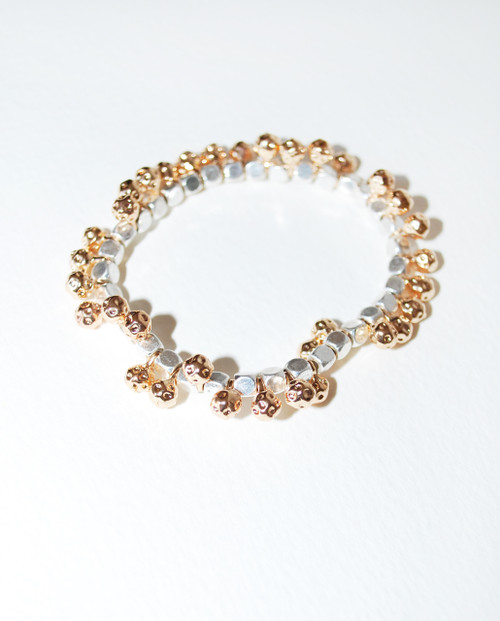 Lagom Galaxy Gold and Silver Bracelet detailed view on grey background