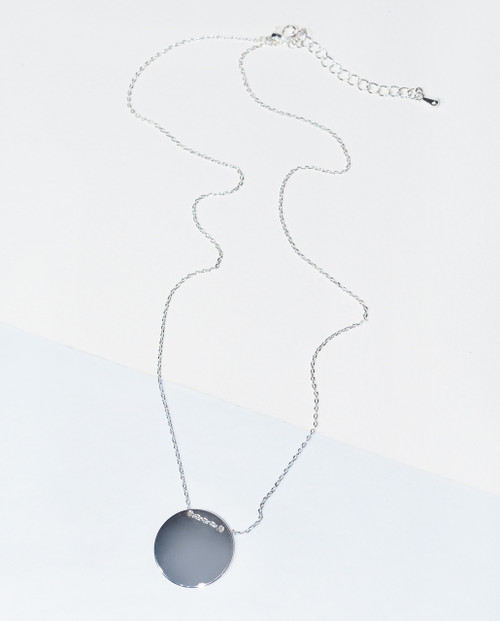 Lagom Helen Necklace Silver front view on split background