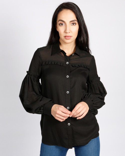 Lagom Hudson Blouse Black front view, worn by model on grey background