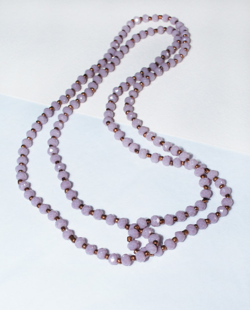 Lagom Long Crystal Bronze Necklace Lilac front view on split background