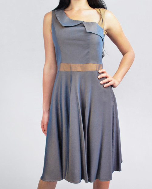 Lydia Dress Bronze Denim front view on model on grey background