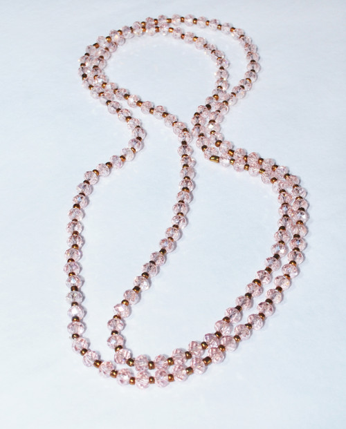 Lagom Long Crystal Bronze Necklace Pink front view on grey background