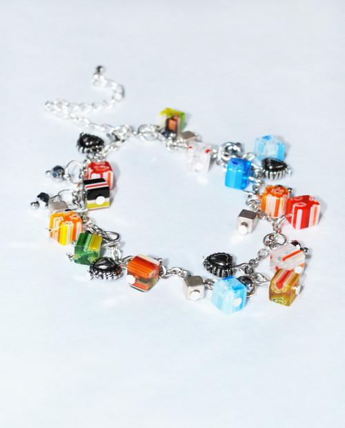 Lagom Fiori Glass Bead Charm Bracelet side view on grey background