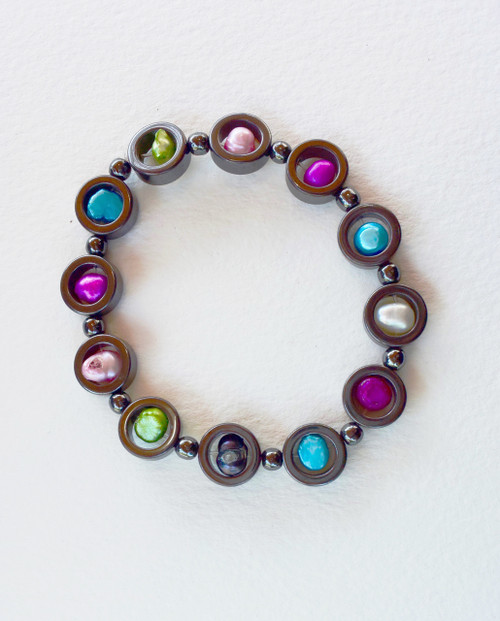 Lagom Hematite Stretch Bracelet front view on grey background