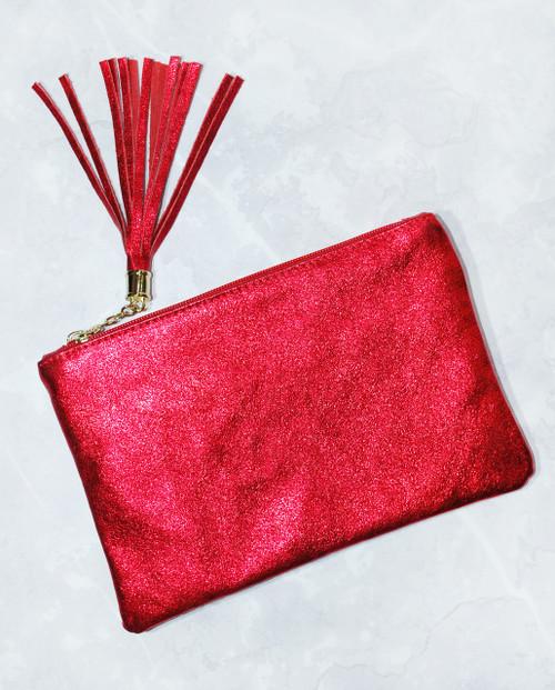 Soho Glitter Clutch Bag Red