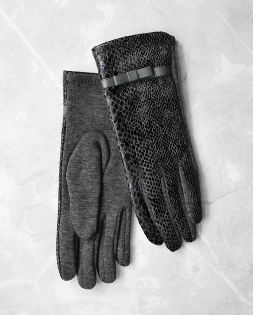 Snake Print Fabric Gloves Grey