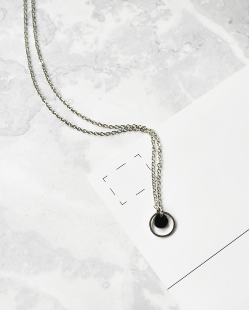 Saturn Marble Necklace Black