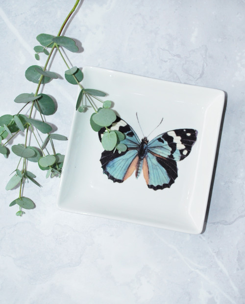 Lagom Butterfly Vintage Style Trinket Tray front view on marble background with sprig