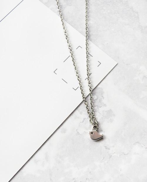 Tiny Bird Necklace Silver