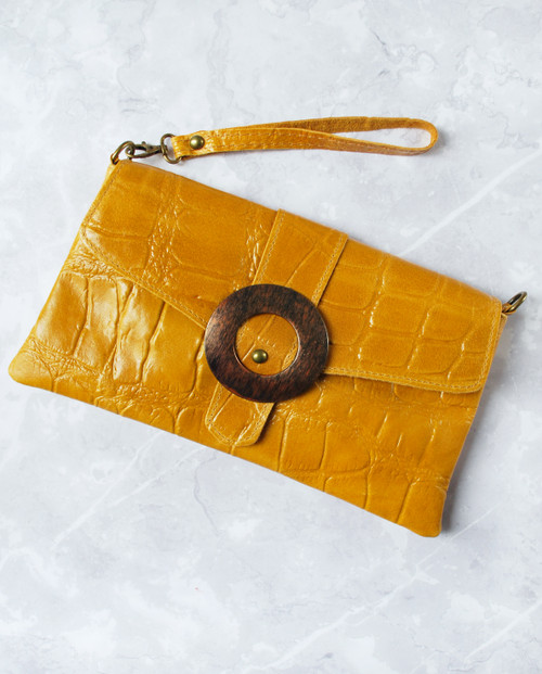 Lagom Linda Retro Handbag in mustard yellow leather with crocodile pattern, £48