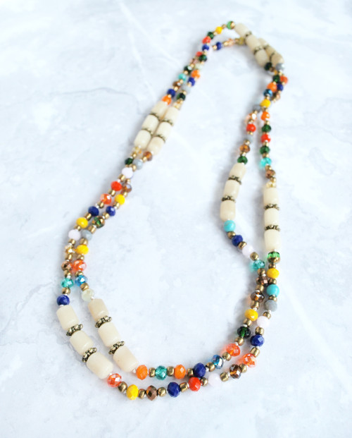 double layered rainbow coloured bead necklace with buri beads