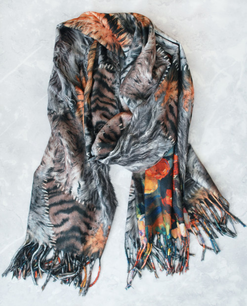 Lagom Eden Floral and Animal Print Viscose-Wool Blend Scarf Grey