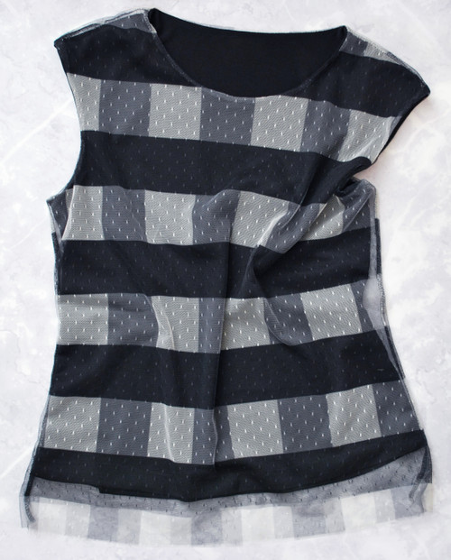 Matera Mesh Top in black-white, £48, front flat view - LAGOM