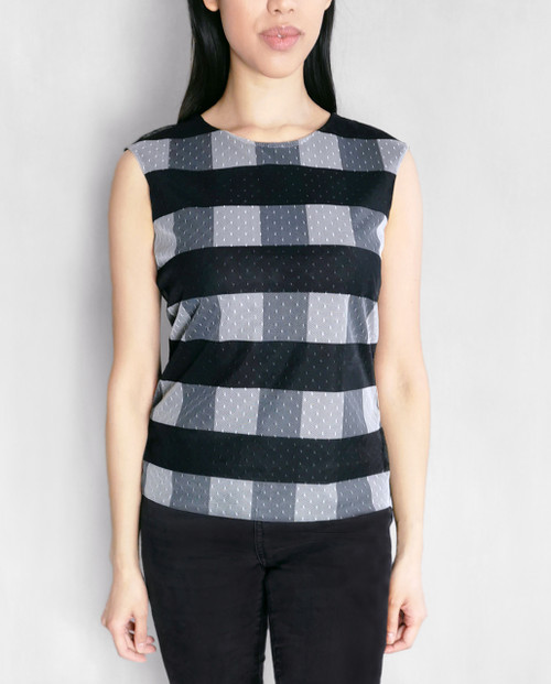 Matera Layered Mesh Top in checked pattern, front view on model