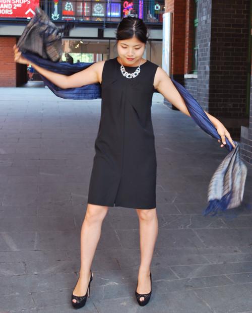 Lagom Nera Shift Dress Black, front view on model, £75