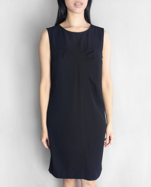 Lagom Nera Shift Dress Black, front view on model, £75
