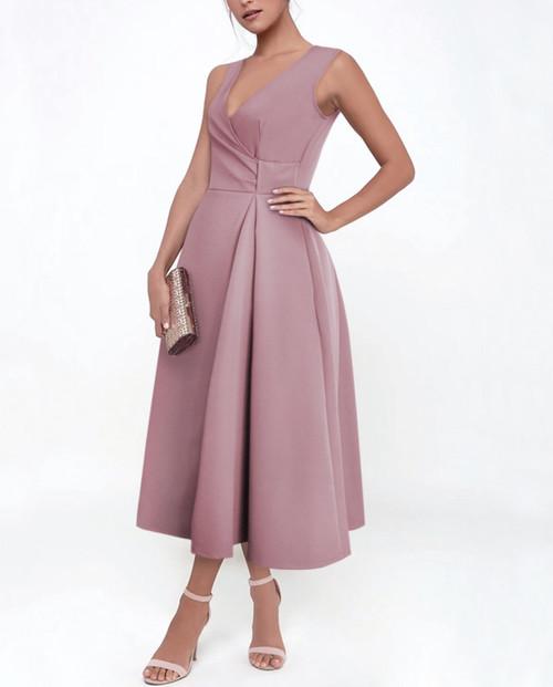 Lagom Ravello Midi Dress in dusky pink, view on model, £120